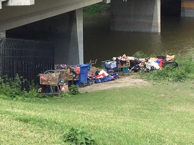 A homeless camp under the Osborne Bridge.