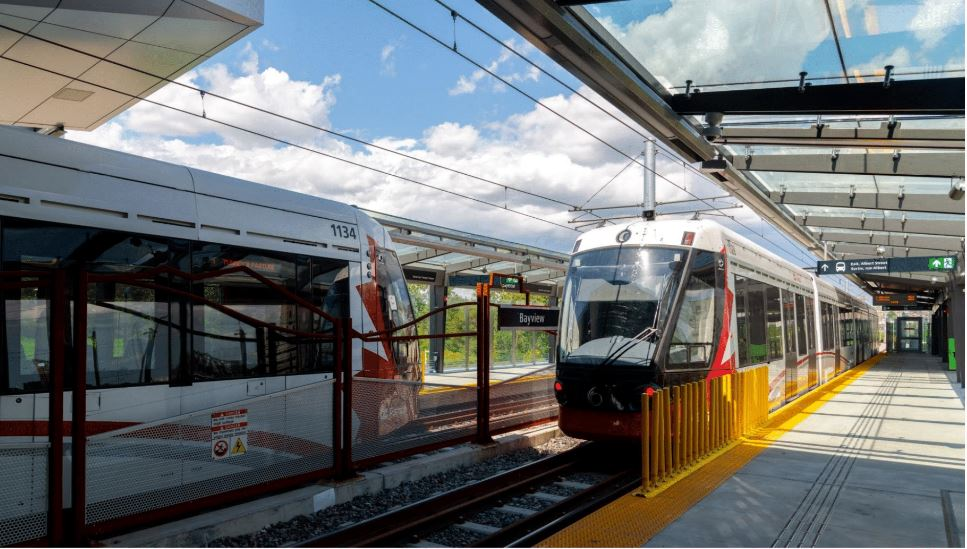 An image of two Ottawa LRT trains at Bayview station.