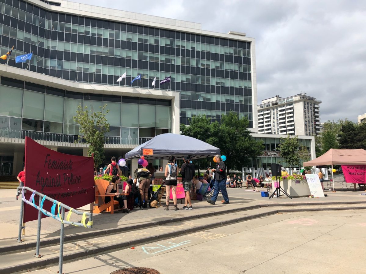 LGBTQ2 community members and allies began camping out at Hamilton city hall Friday, July 12, 2019.