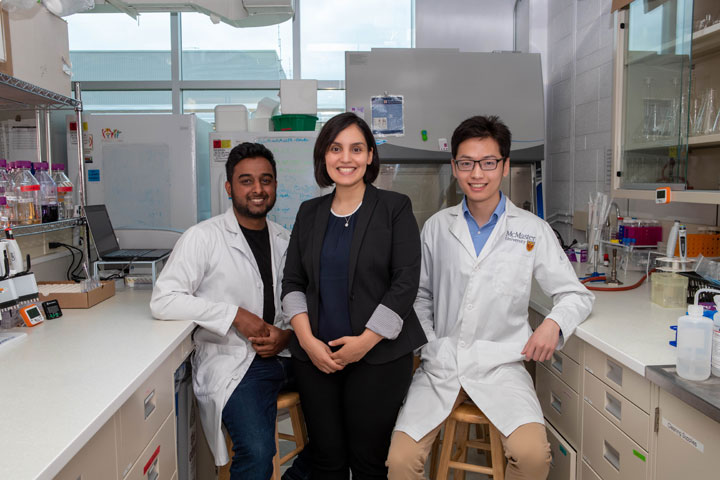 Randi Mahabir, Zeinab Hosseini-Doust and Lei Tian, part of the McMaster University team who invented a gel made from bacteriophages.