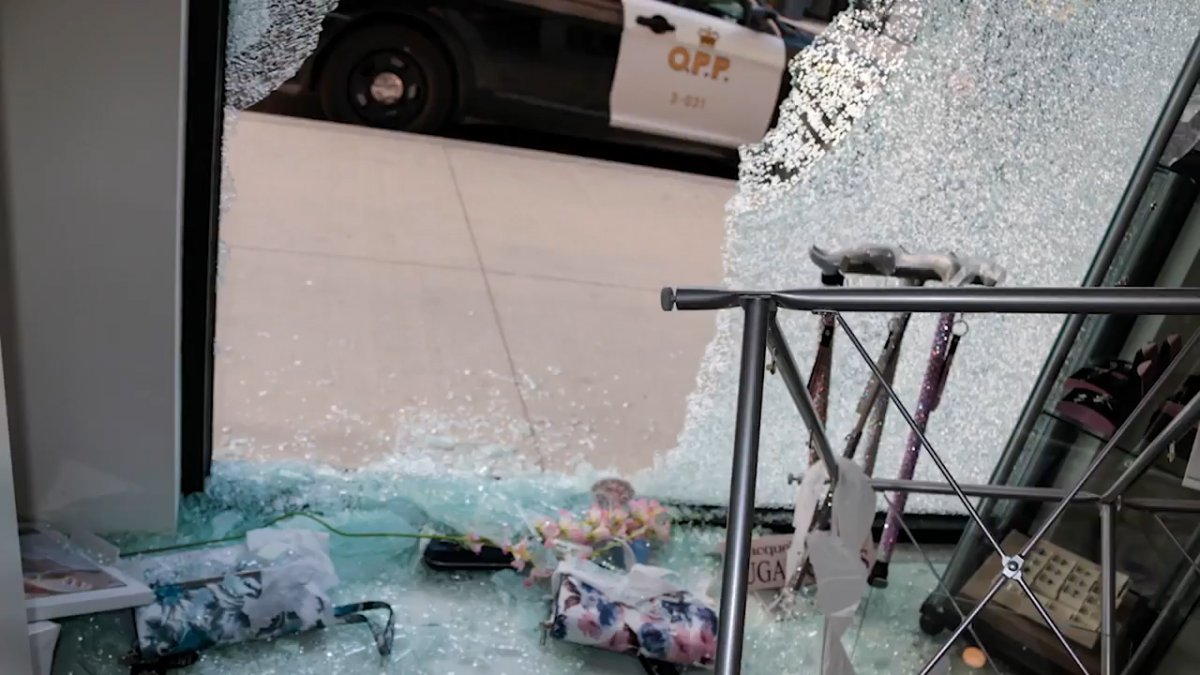 OPP are searching for a motorcyclist who allegedly smashed the window of a Napanee jewellery store on Dundas Street.
