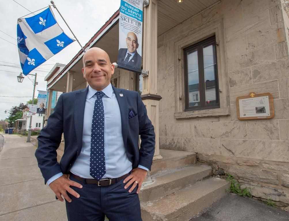 CAQ MNA Christopher Skeete, the government's point man for anglo affairs, is seen at his riding office in Laval, Que., Wednesday, July 17, 2019.