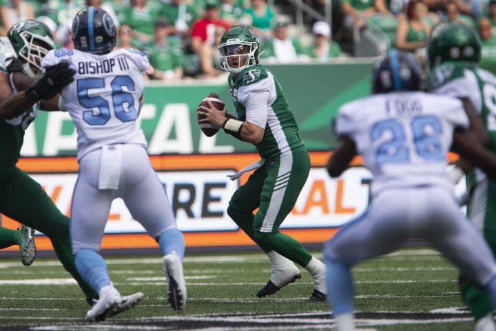 Saskatchewan Roughriders quarterback Cody Fajardo (7) throws the ball during first half CFL football action against the Toronto Argonauts, in Regina on Monday, July 1, 2019.