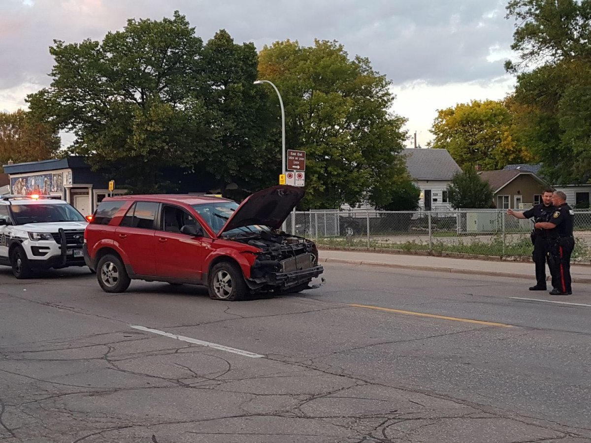 Winnipeg police at the scene of the high speed chase in Elmwood.