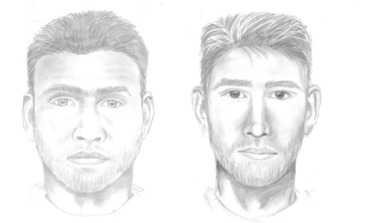 Two sketches of the same sex assault suspect based on different witness descriptions.