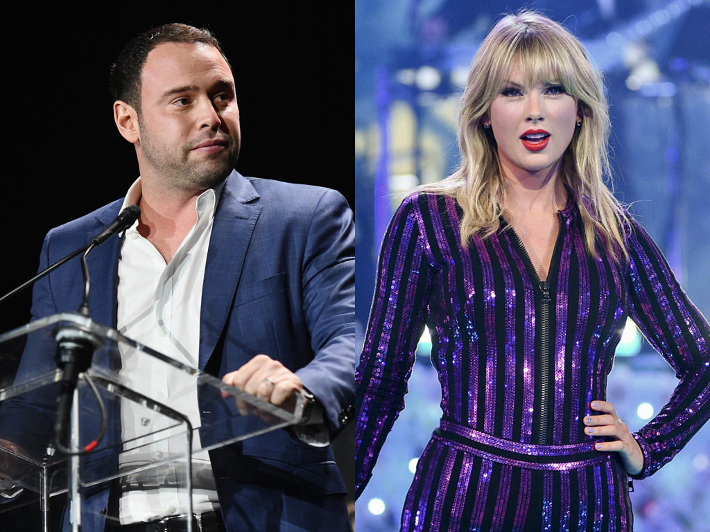 (L-R) Scooter Braun and Taylor Swift.