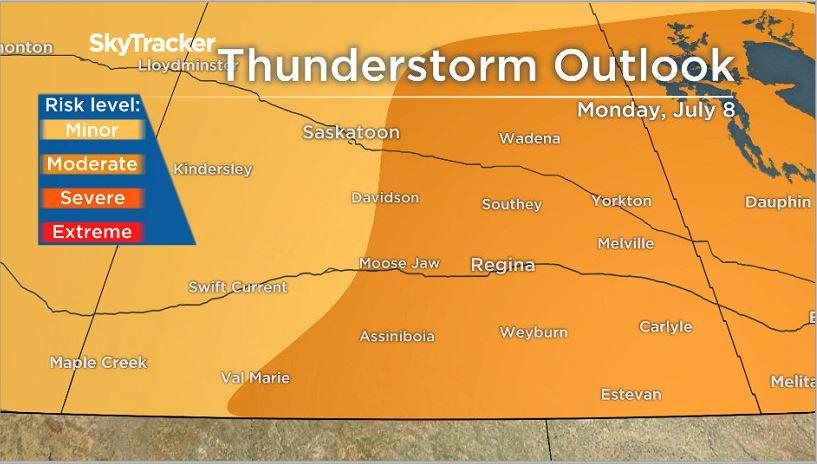 Thunderstorm outlook in Saskatchewan for July 8.