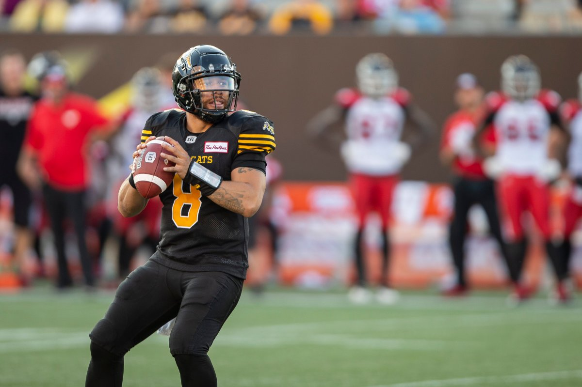 Hamilton will need a strong game from quarterback Jeremiah Masoli (8) if they have any hope of ending their long drought against the Calgary Stampeders Saturday night.