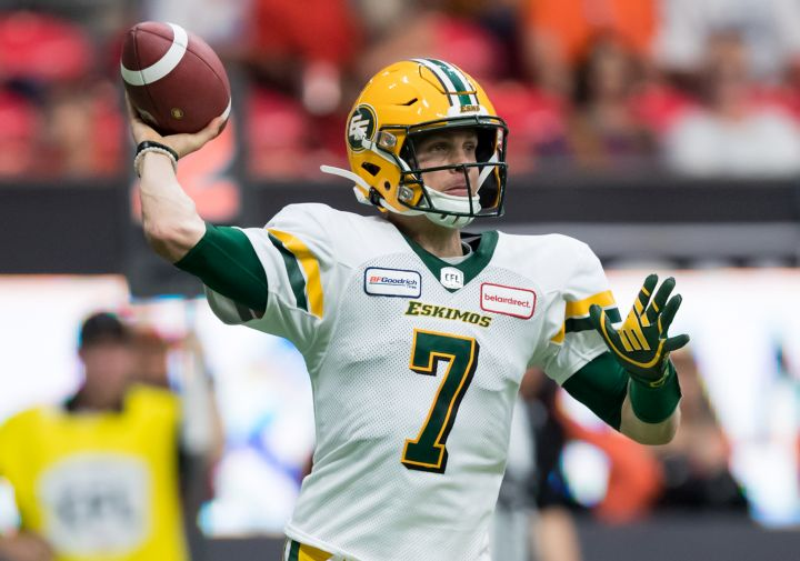 Edmonton Eskimos quarterback Trevor Harris passes during first half CFL football action against the B.C. Lions, in Vancouver, on July 11, 2019.