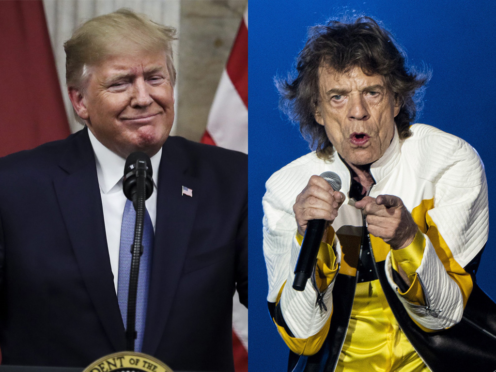 (L-R) U.S. President Donald Trump and Mick Jagger of The Rolling Stones in 2019.