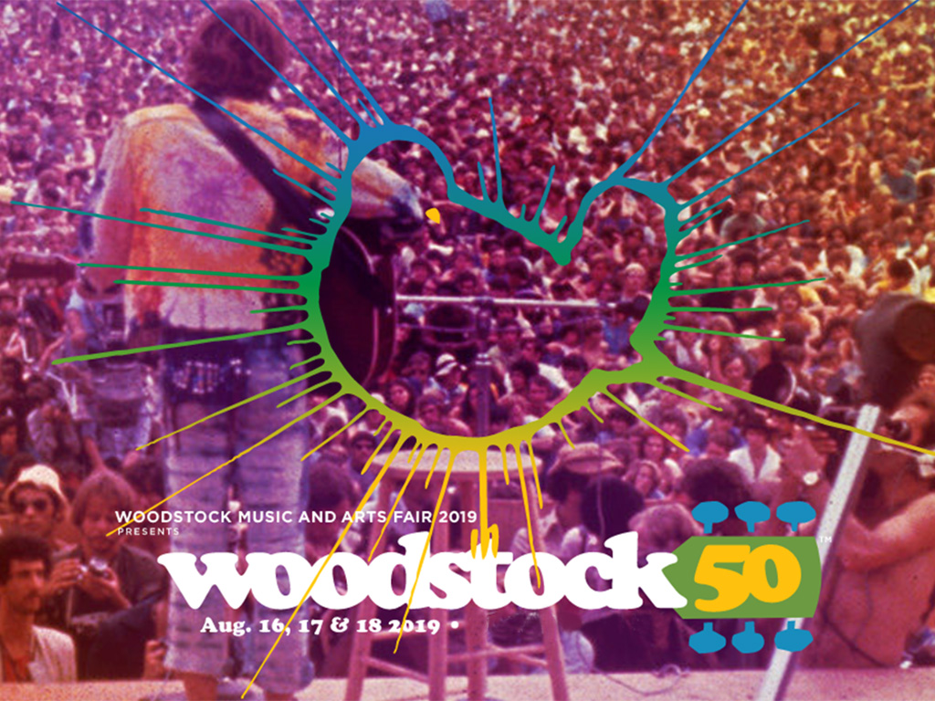 A poster from the official Woodstock 50 website advertising the August 2019 festival.