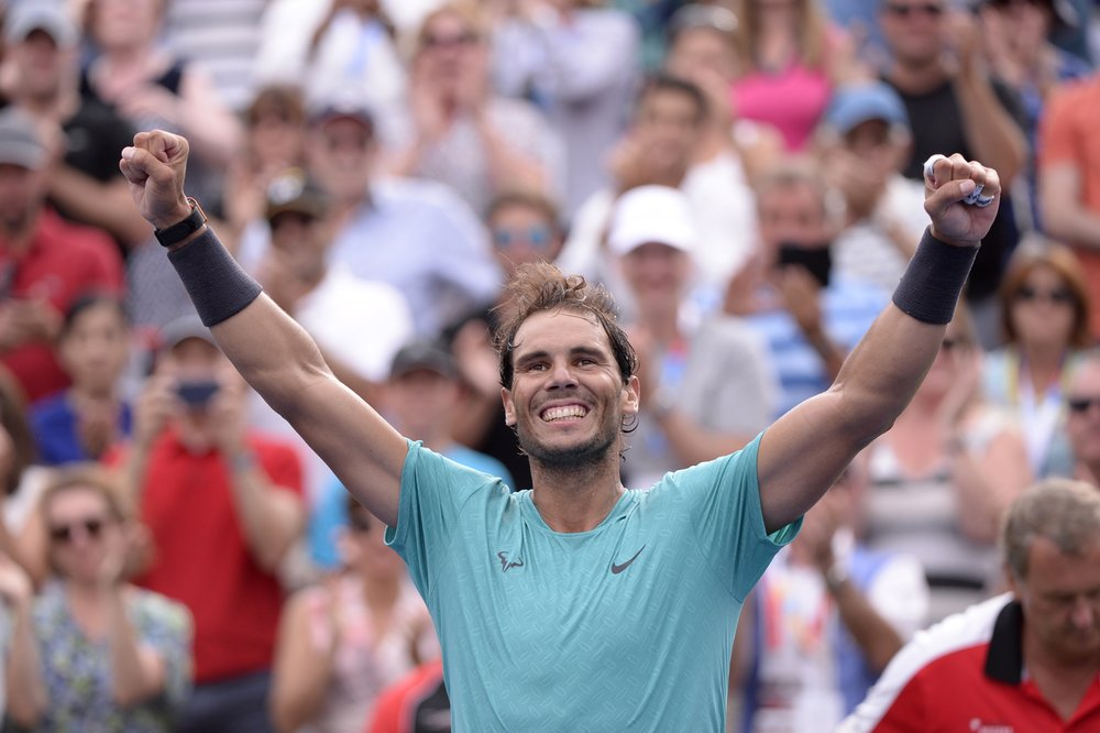 Spain's Rafael Nadal celebrates his win over Russia's Daniil Medvedev in the final of the Rogers Cup tennis tournament in Montreal, Sunday, Aug. 11, 2019.