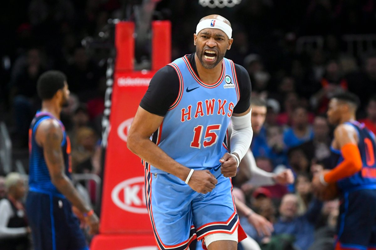 Atlanta Hawks forward Vince Carter reacts after scoring a 3-point shot during the second half of an NBA basketball game against the Oklahoma City Thunder, Tuesday, Jan. 15, 2019, in Atlanta. The Hawks won 142-126.