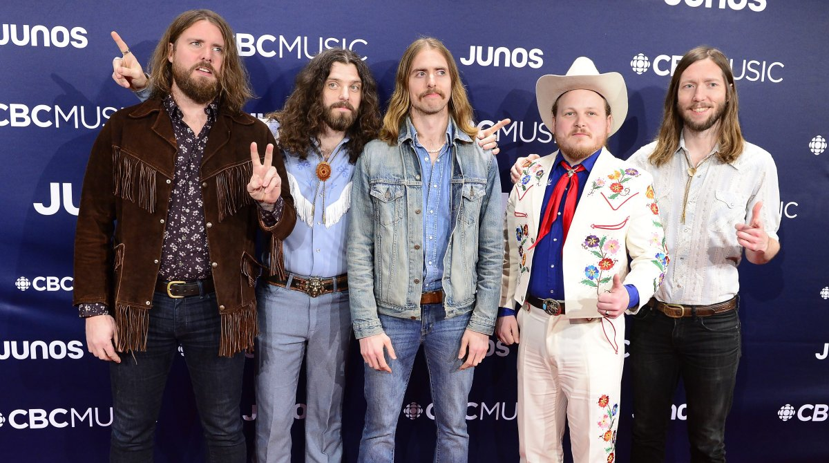 The Sheepdogs arrive on the red carpet at the 2019 Juno Awards in London, Ont.