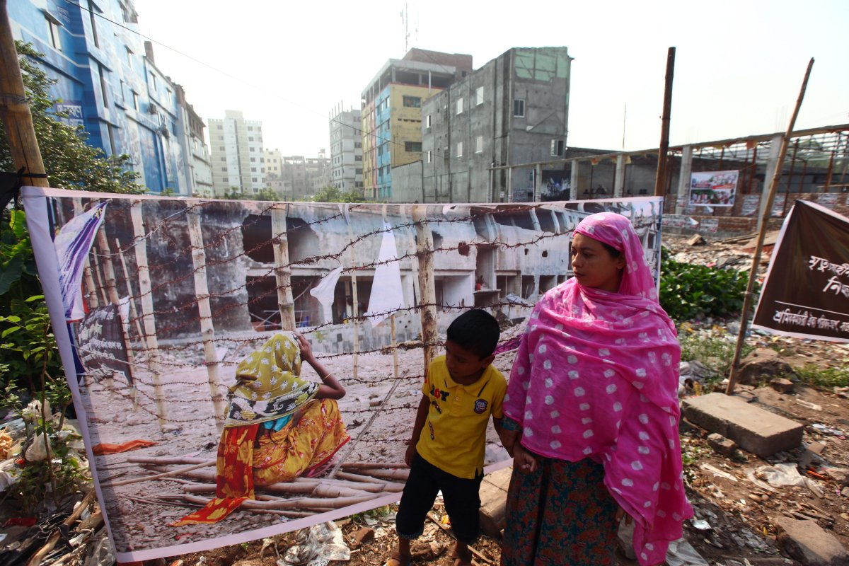 Family members visit the site of the Rana Plaza building during the sixth anniversary marking the collapses of the multi story building, housing garment workers outskirt of Dhaka Bangladesh April 24, 2019.
