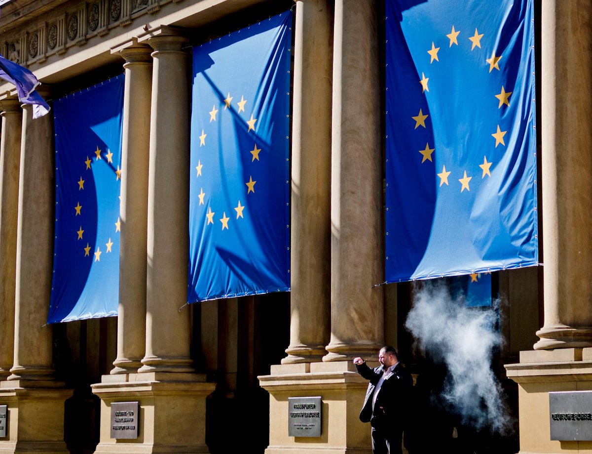 European flags are displayed at the stock market in Frankfurt, Germany, Tuesday, May 14, 2019. European elections will be held on May 26.