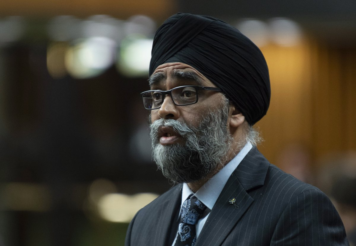 Minister of National Defence Minister Harjit Sajjan responds during Question Period in the House of Commons, in Ottawa on May 28, 2019.