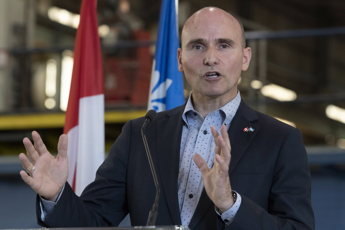 Jean-Yves Duclos, Minister of Families, Children and Social Development speaks o n July 16, 2019 in Levis Que.