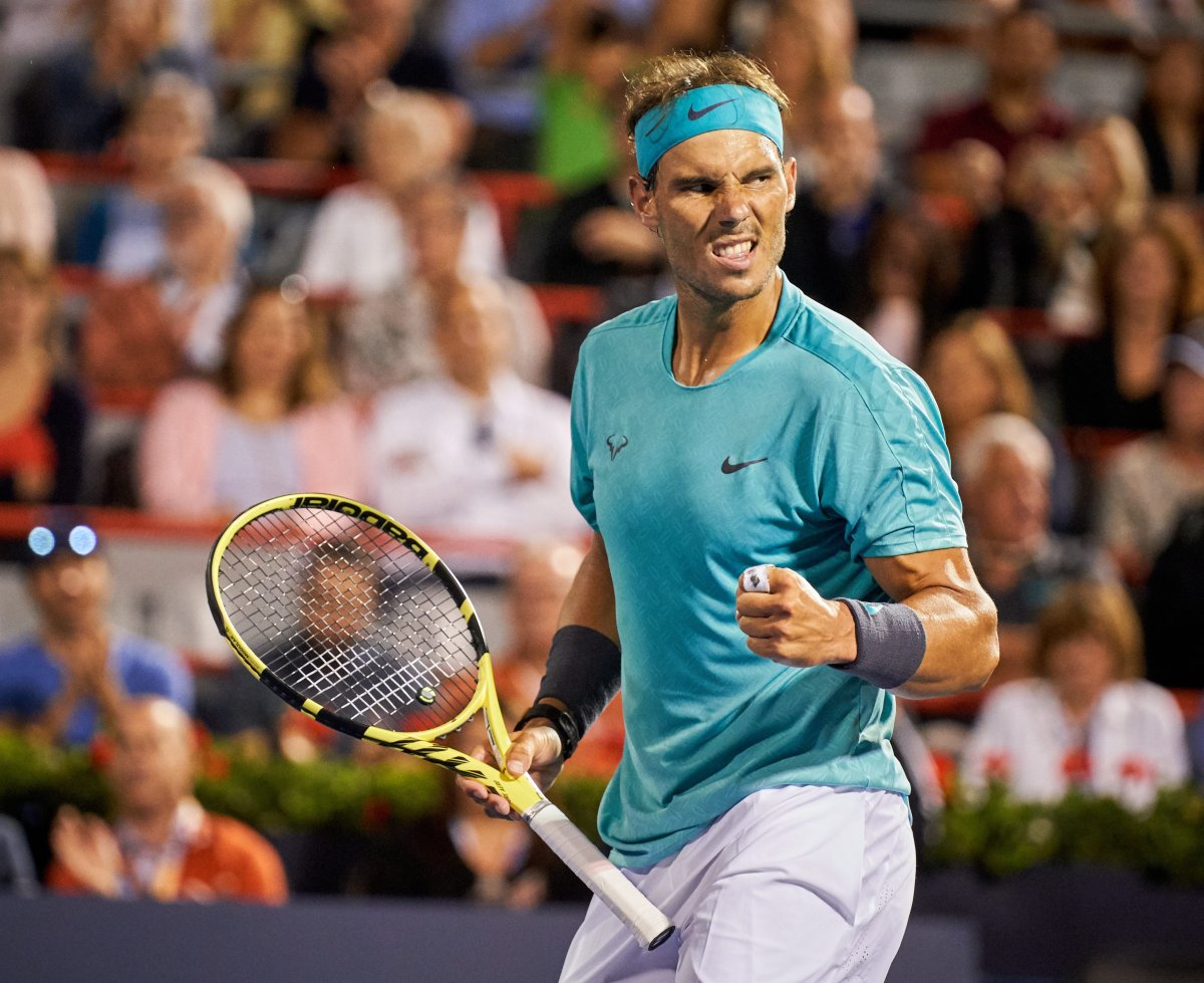 Rafael Nadal of Spain gestures while in action against Fabio Fognini of Italy during their quater-final match at the Rogers Cup tennis tournament in Montreal, Canada, 09 August 2019.
