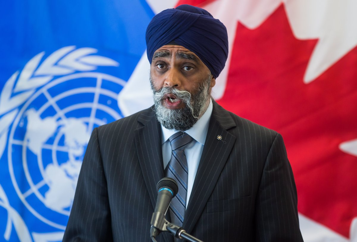 Defence Minister Harjit Sajjan announces that a Canadian Forces Hercules transport plane will be sent to Uganda to take part in a United Nations peacekeeping mission, during a news conference in Vancouver, on Thursday August 15, 2019.