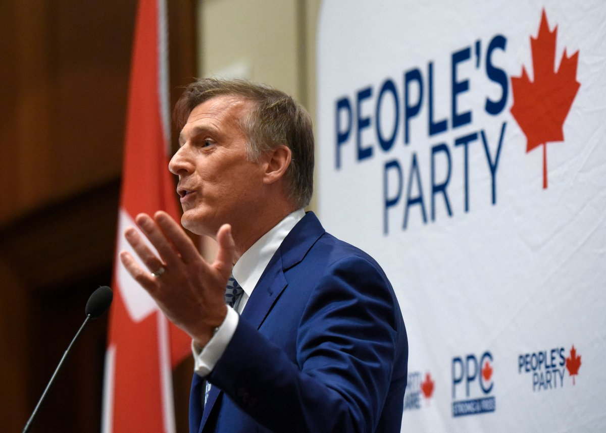 People's Party of Canada leader Maxime Bernier delivers an address at the PPC national conference in Gatineau, Que. on Sunday, Aug. 18, 2019.