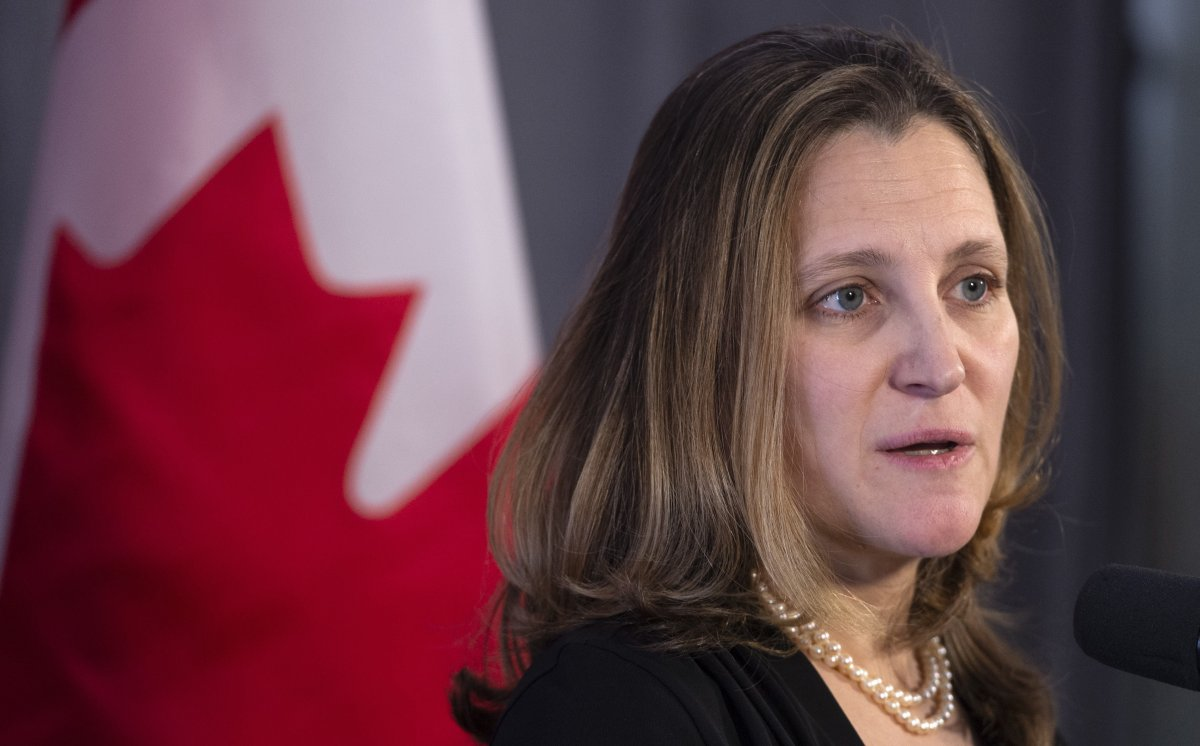Foreign Affairs Minister Chrystia Freeland delivers a statement while entering a cabinet meeting in Sherbrooke, Que. on January 17, 2019.