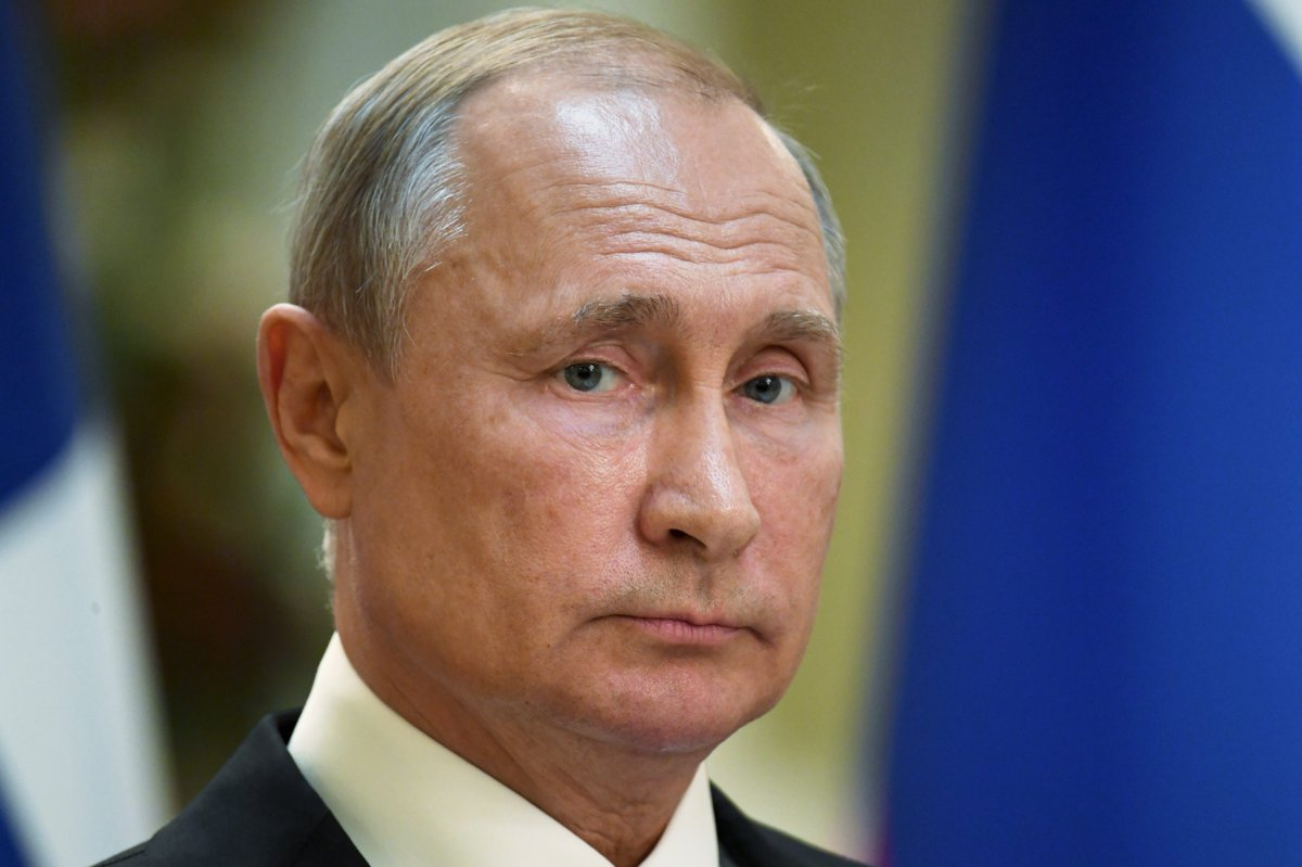Russian President Vladimir Putin is shown during a press conference in the Finland Presidential Palace in Helsinki on Aug. 21, 2019.