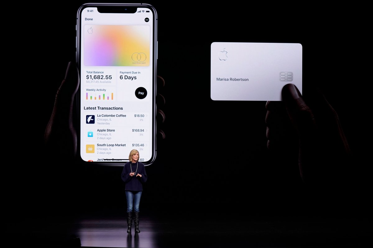In this March 25, 2019, file photo, Jennifer Bailey, vice president of Apple Pay, speaks about the Apple Card at the Steve Jobs Theater during an event to announce new products in Cupertino, Calif.