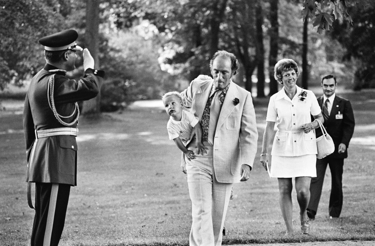 Pierre Trudeau carries son Justin to an event at Rideau Hall in 1973.