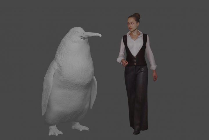 """This illustration provided by the Canterbury Museum, shows the approximate height of a giant penguin, a """"crossvallia waiparensis"""" next to a human being."""