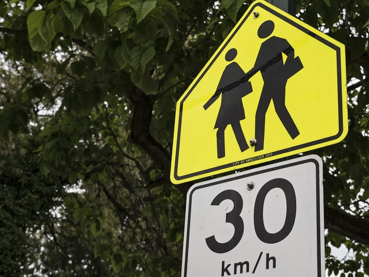 All school and playground zones in the City of Vancouver will now be 30/h all the time.