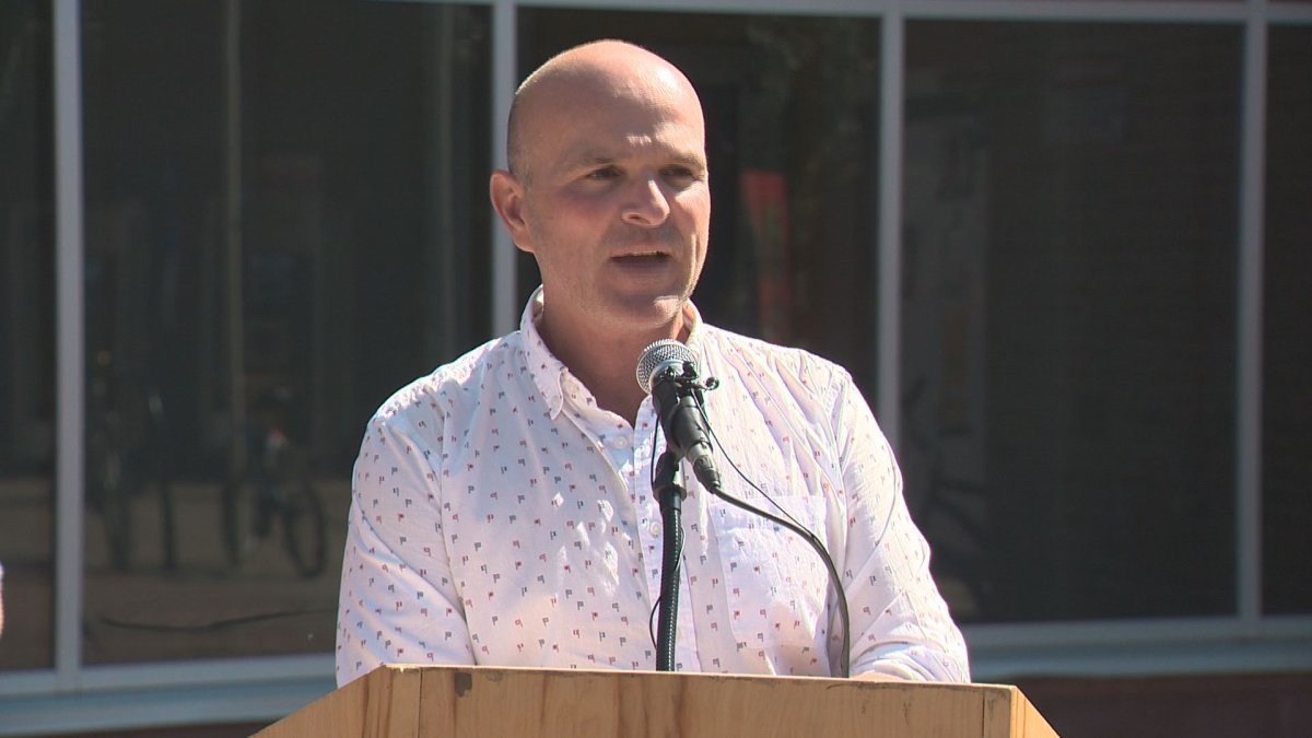 Liberal MP Randy Boissonnault makes a funding announcement in Edmonton on Sunday.