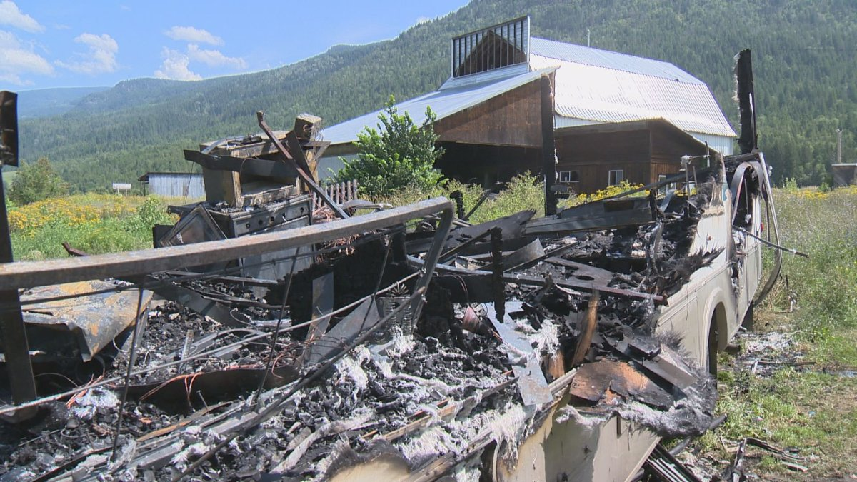 A motor home in Grindrod was completely destroyed by flames on Thursday.