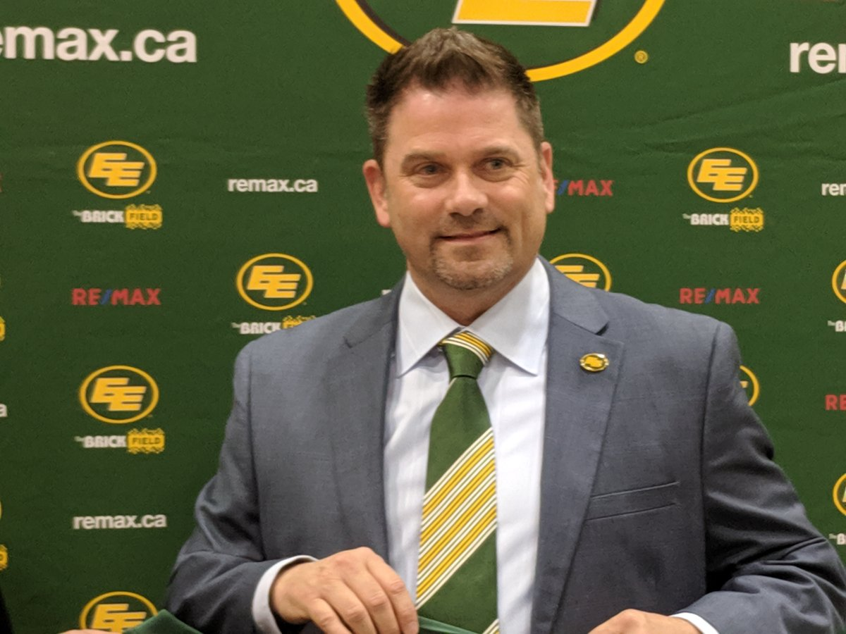 New Edmonton Eskimos president and CEO Chris Presson speaks to the media on Aug. 7, 2019.