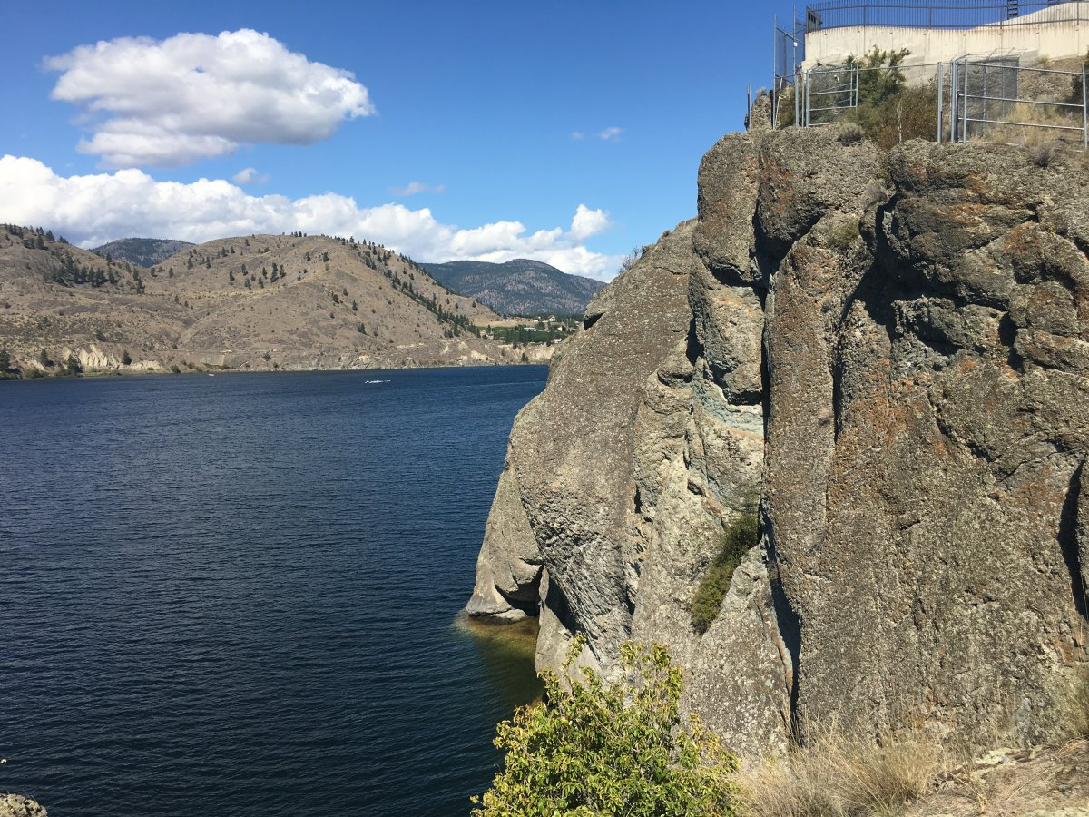 The scene of a fatal cliff jumping accident on Friday near Okanagan Falls.
