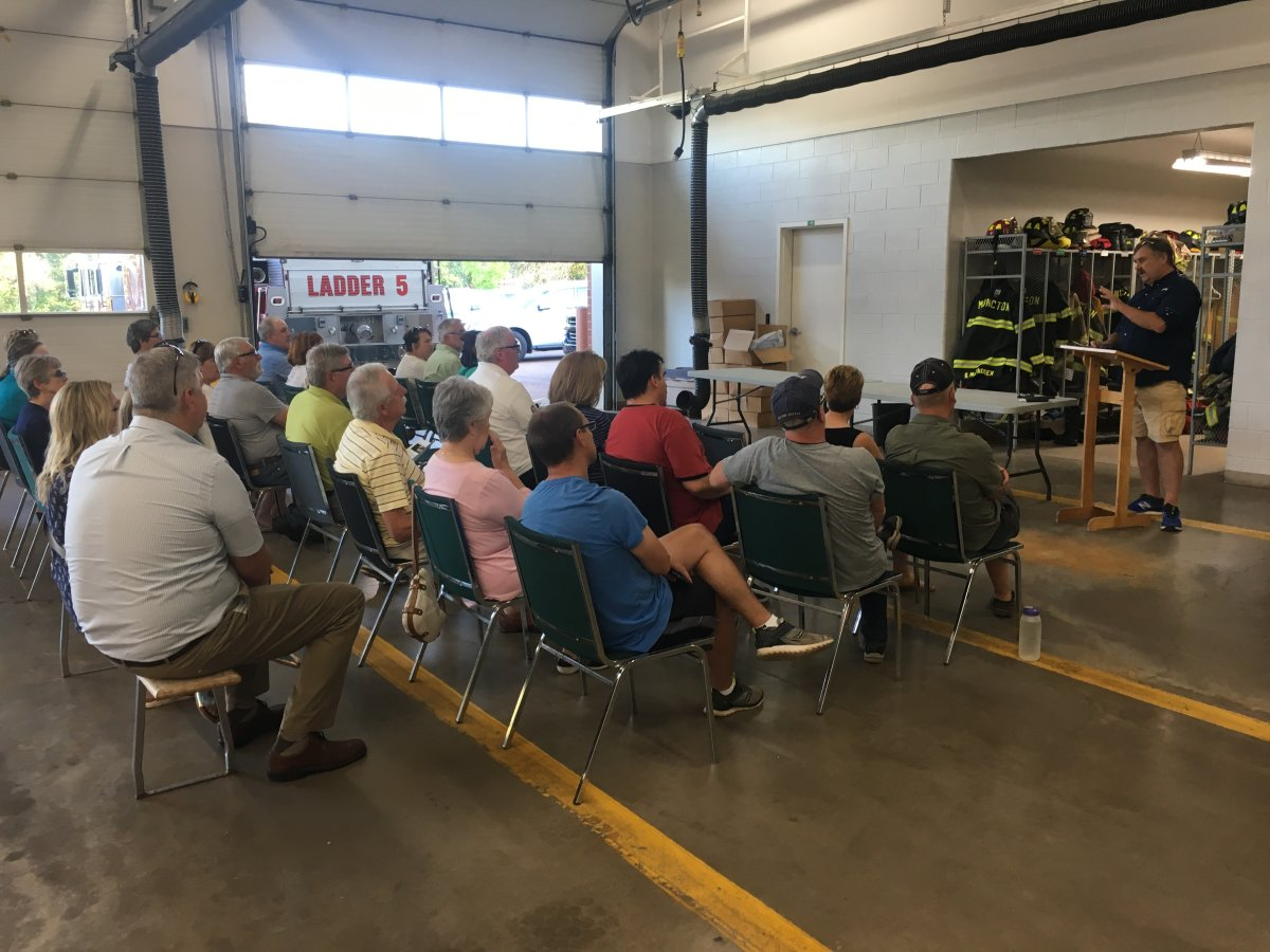 Concerned residents held a meeting Wednesday night to discuss concerns regarding the possibility of connecting Casino Drive to Muirfield/Twin Oaks Drive.
