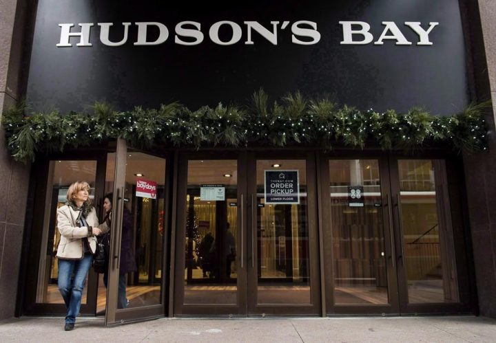 FILE: A woman leaves a Hudson's Bay store in Toronto on November 1, 2017.