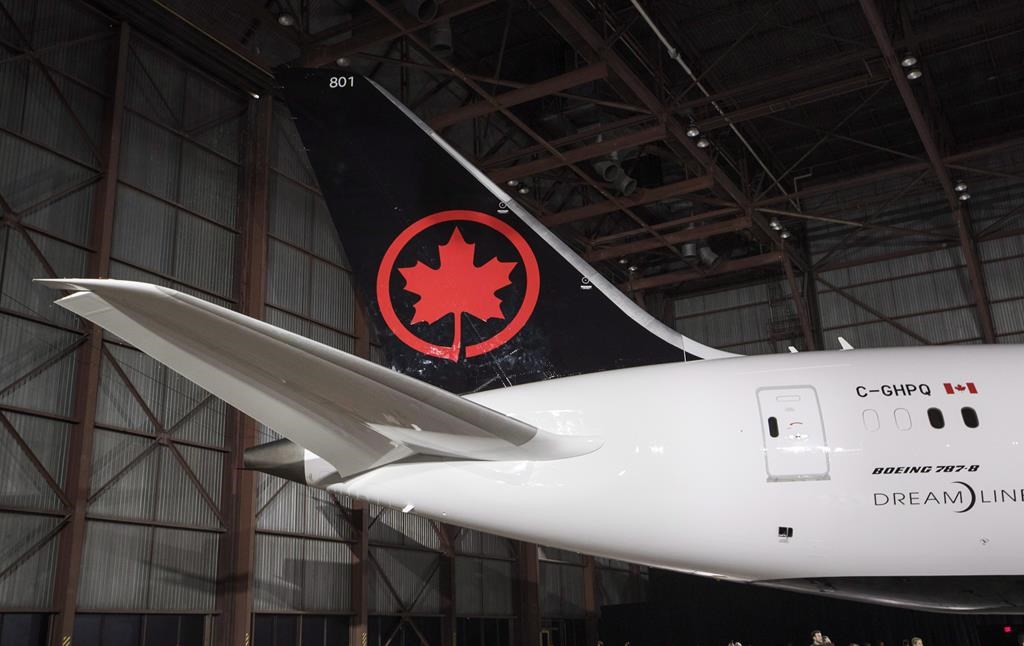 The tail of the newly revealed Air Canada Boeing 787-8 Dreamliner aircraft is seen at a hangar at the Toronto Pearson International Airport in Mississauga, Ont., Thursday, February 9, 2017.