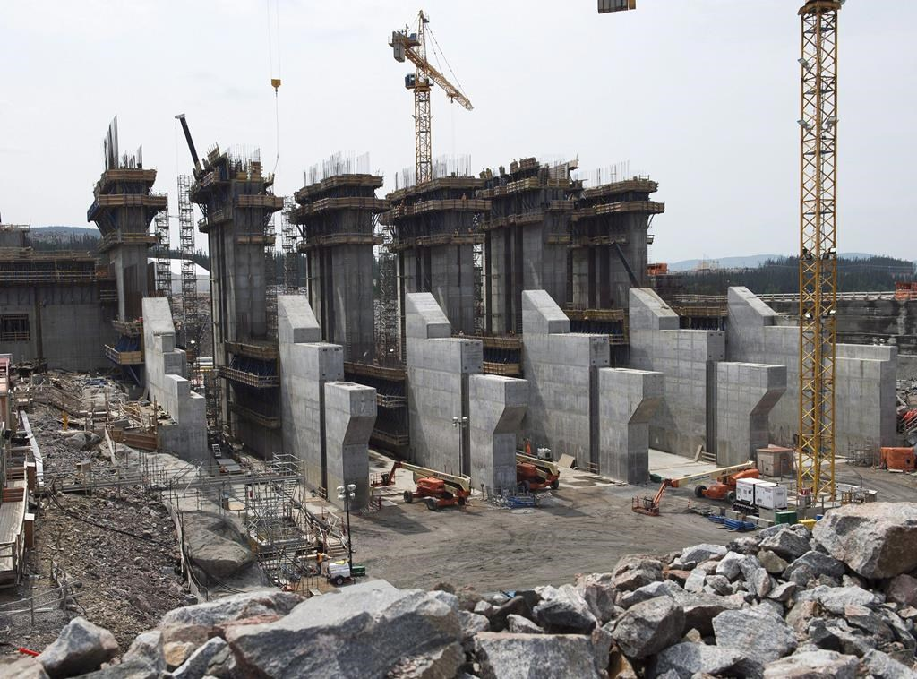 The construction site of the hydroelectric facility at Muskrat Falls, Newfoundland and Labrador is seen on , July 14, 2015.
