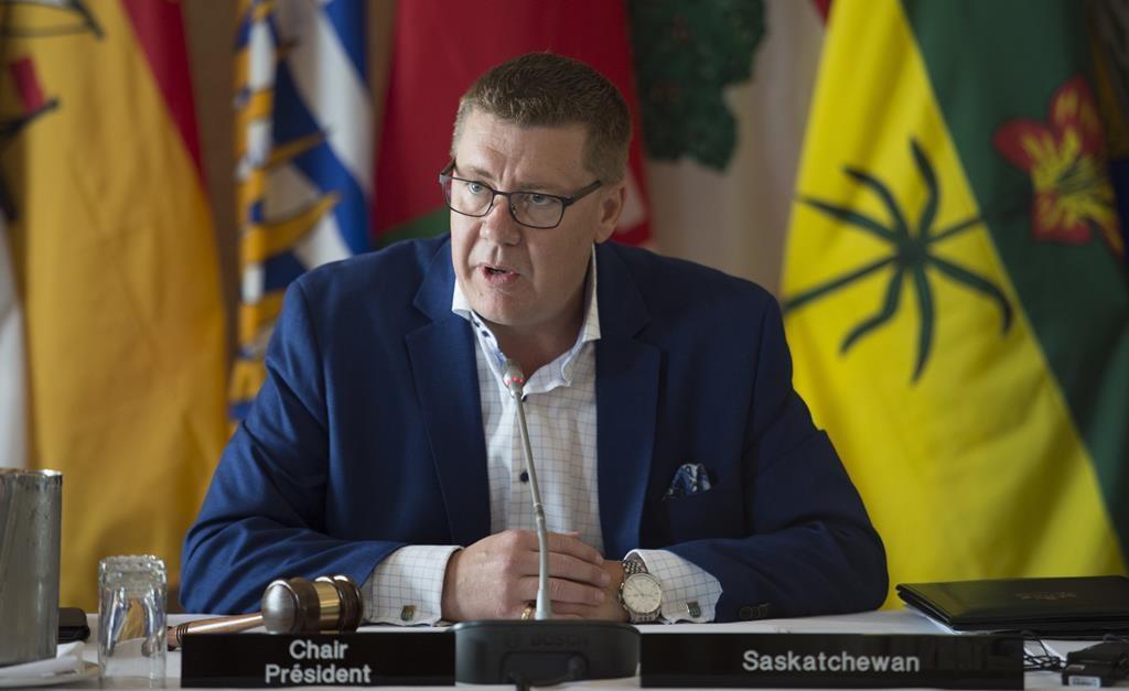 Saskatchewan Premier Scott Moe speaks during a meeting of Canada's premiers in Saskatoon, Sask. Wednesday, July 10, 2019.