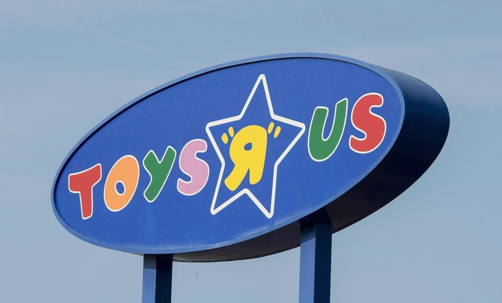 """A Toys """"R"""" Us sign is seen in Montreal on September 19, 2017."""