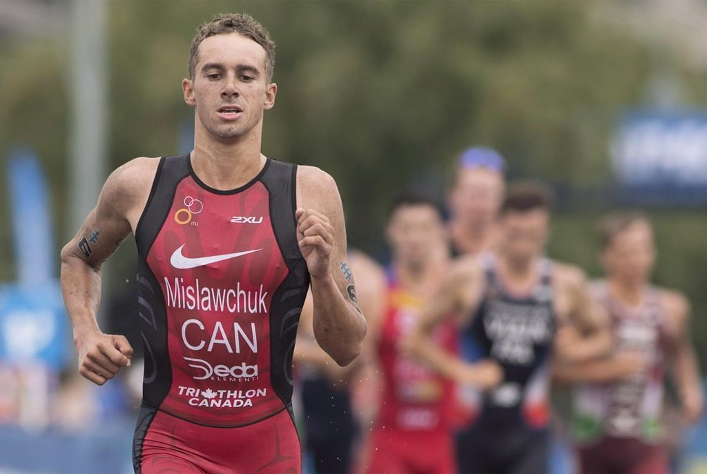 Tyler Mislawchuk of Canada competes during the ITU World Triathlon Series race in Montreal, Sunday, August 26, 2018. Tyler Mislawchuk races with his heart. Adding his head has made for a breakout triathlon season.So far in 2019, the 25-year-old Manitoban won his first career World Cup races, earned his first world triathlon series podium and was victorious in a Tokyo 2020 test race.