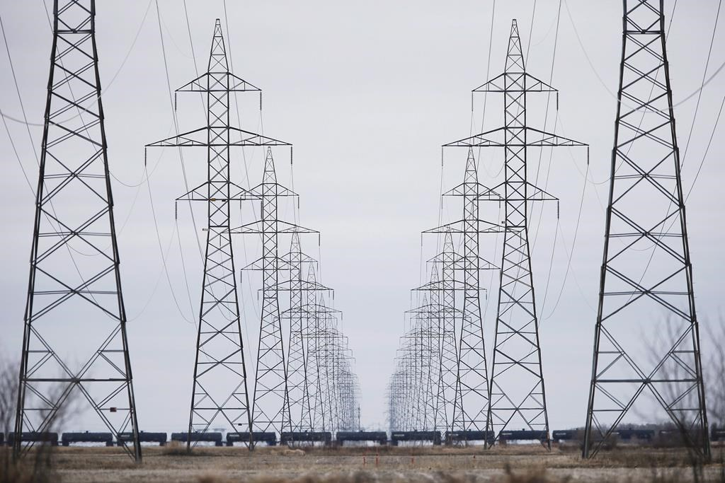 Manitoba Hydro power lines are photographed just outside Winnipeg in this file photo.