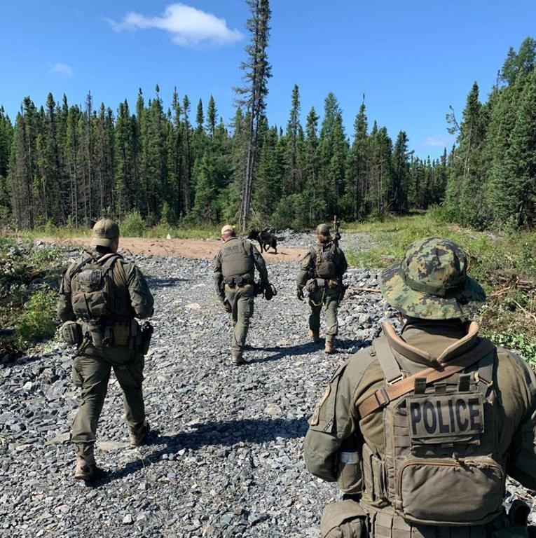 RCMP search an area near Gillam, Man. in this photo posted to their Twitter page on Tuesday, July 30, 2019. The deputy mayor of a northern Manitoba community at the centre of a massive manhunt says it will be a long time before things return to normal.THE CANADIAN PRESS/HO, Twitter, Manitoba RCMP, @rcmpmb *MANDATORY CREDIT*.