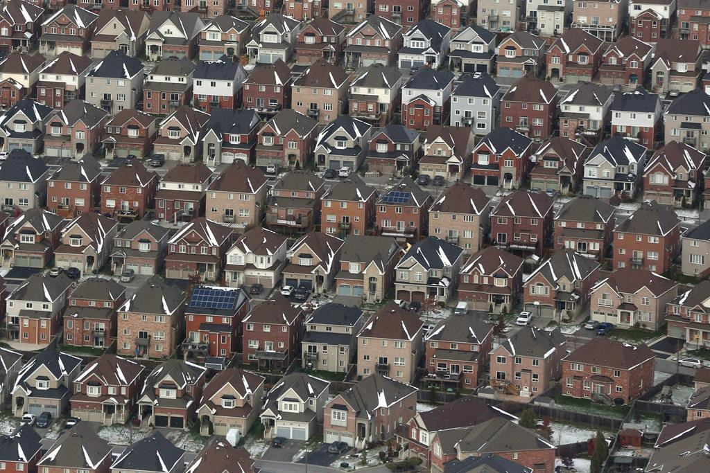 An aerial view of houses in Oshawa, Ont., on Saturday, Nov. 11, 2017.