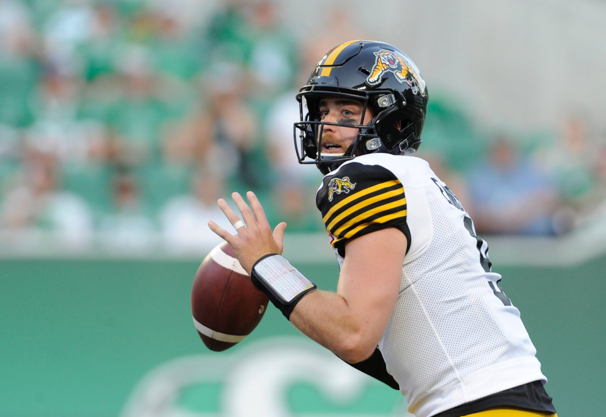 Hamilton Tiger-Cats quarterback Dane Evans attempts a pass during first half CFL action at Mosaic Stadium in Regina on Thursday, August 1, 2019.