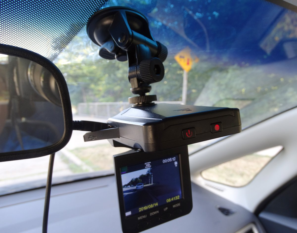 A dashboard camera is shown in a recent photo. Dashcams are being praised as protection while driving.