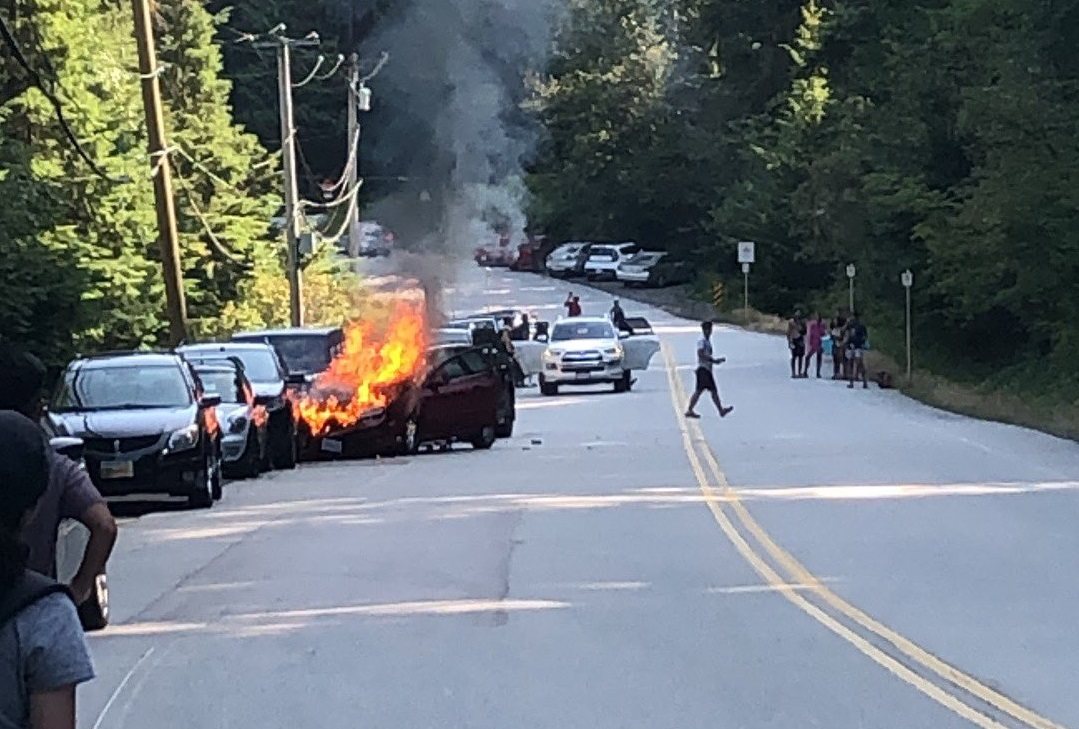 A multi-vehicle collision that resulted in a fire on Wednesday afternoon near Sasamat Lake.