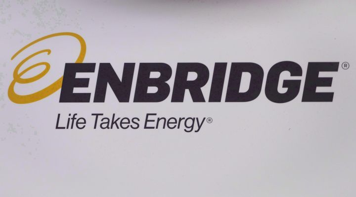 The Enbridge logo is shown at the company's annual meeting in Calgary on May 9, 2018.