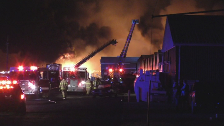 Fire crews responded to a major fire at Pioneer Flower Farms in St. Catherines Friday night.